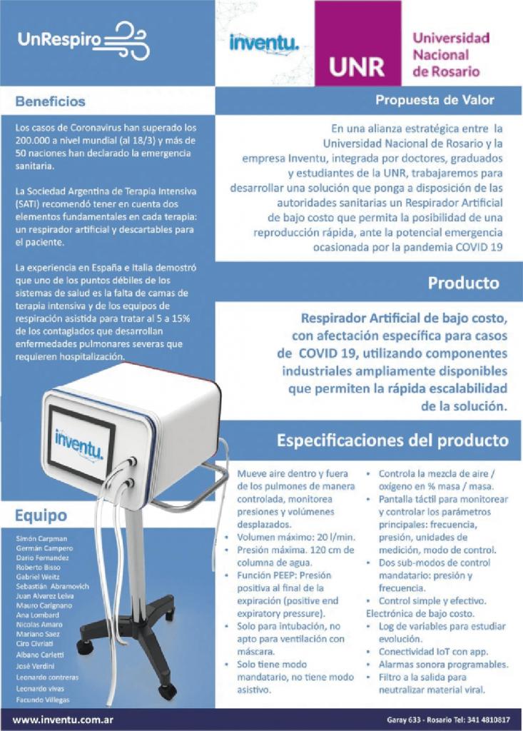 caracteristicas del respirador artificial